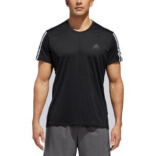 adidas Mens Response Run It 3 Stripes Shirt