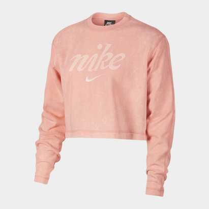 Nike Washed Crop Sweatshirt Ladies
