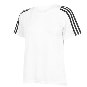 adidas 3 Stripe Mesh T Shirt Ladies