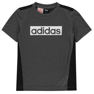 adidas Climalite Box Logo T Shirt Junior Boys