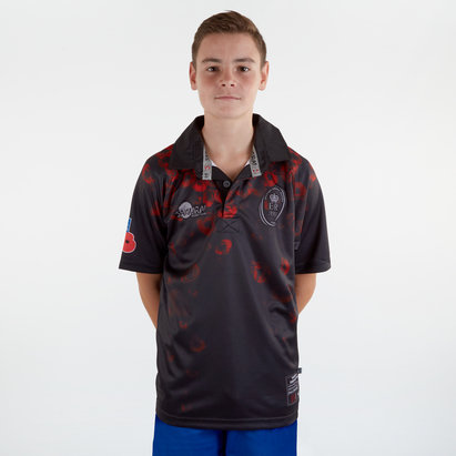 Samurai Army Rugby Union Remembrance Day Poppy Kids S/S Rugby Shirt