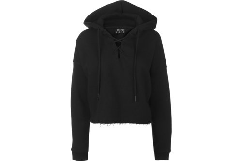 Lace Up Crop Hoodie Ladies